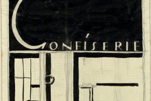 """Zeichnung mit Schriftzug """"Confiserie"""""""