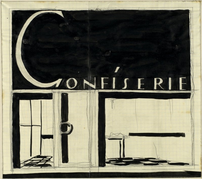 "Drawing with the word ""Confiserie"""