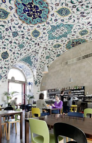 Coffee-house, vault lined with Turkish tiles