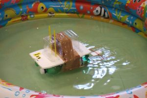 styrofoam house floating on water