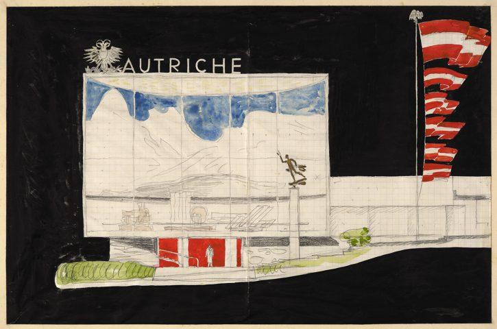 Farbige Ansicht vom Pavillon der Republik Österreich