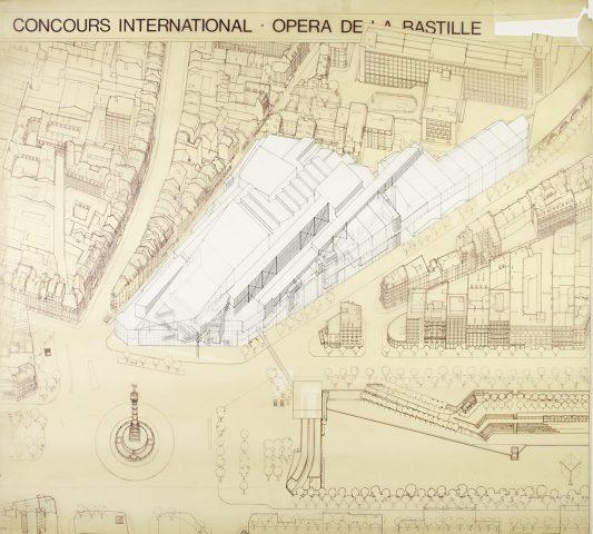 Zeichnung, Vogelperspektive von der Opéra de la Bastille