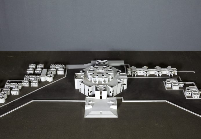 Architectural model of national assembly building in Dacca