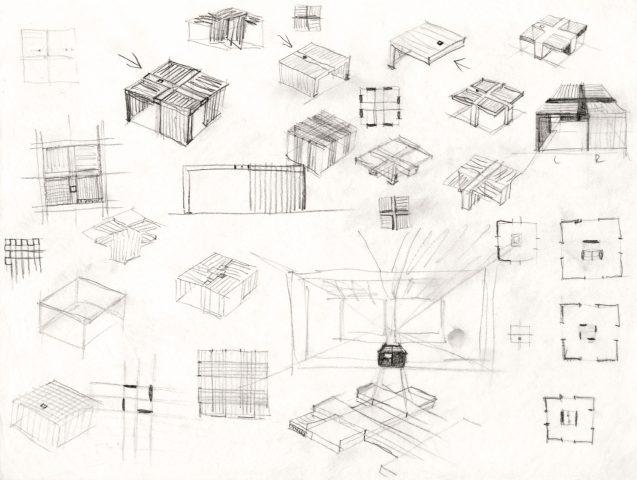 """Design sketches """"Baumgartner Spitz Pastoral Centre"""""""