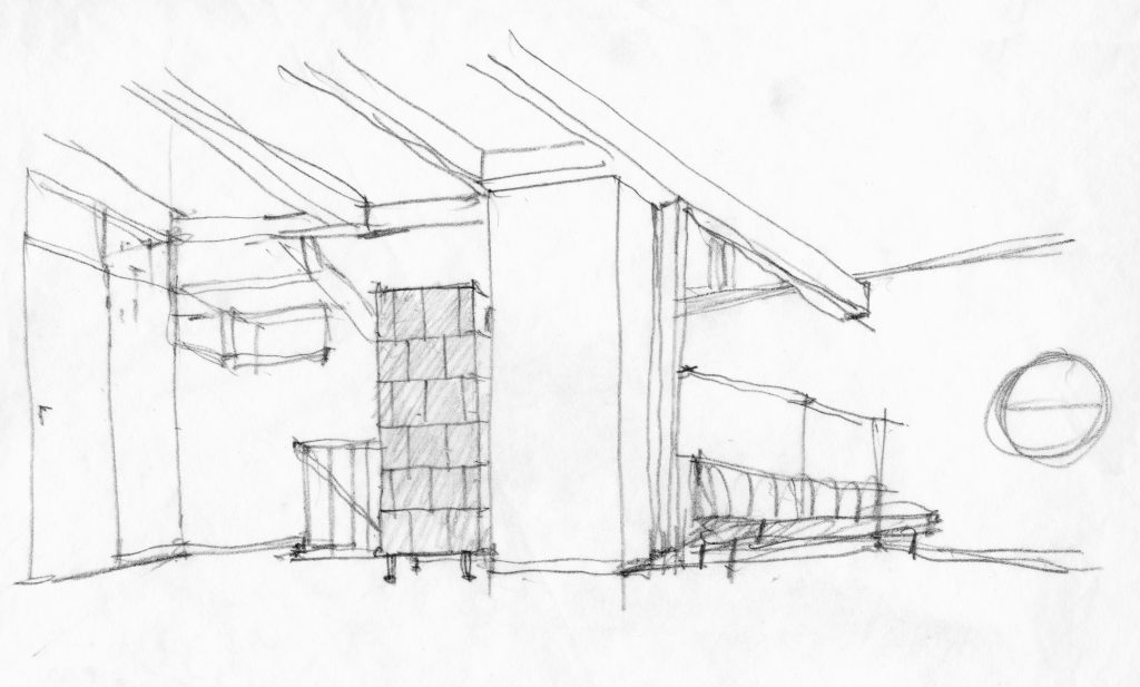 Pencil sketch of living room