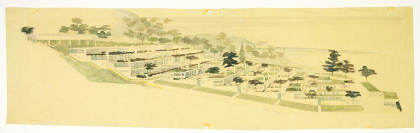 Aquarellzeichnung mit Gesamtansicht der Terrassenhaussiedlung