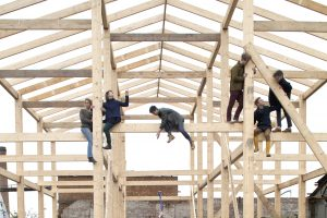 Scaffold with people