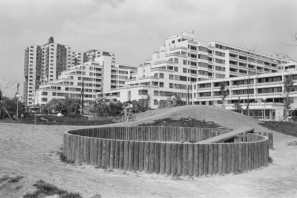Housing development in black and white, with playground