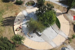 Park with wooden circle