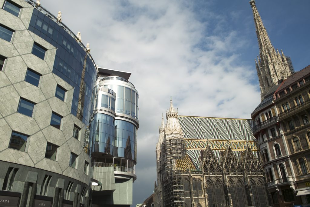 Gothic cathedral and modern architecture in Vienna's inner city