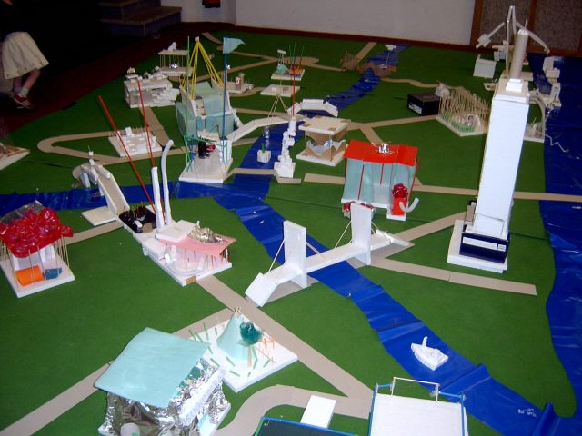 City made of self-built models.