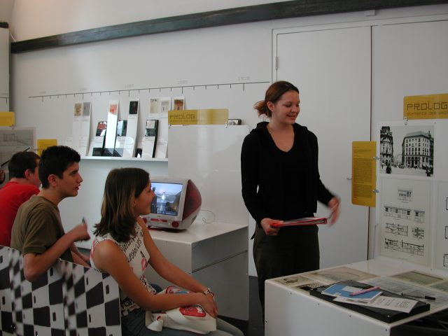 "Four school students in the permanent exhibition ""a_schau"""