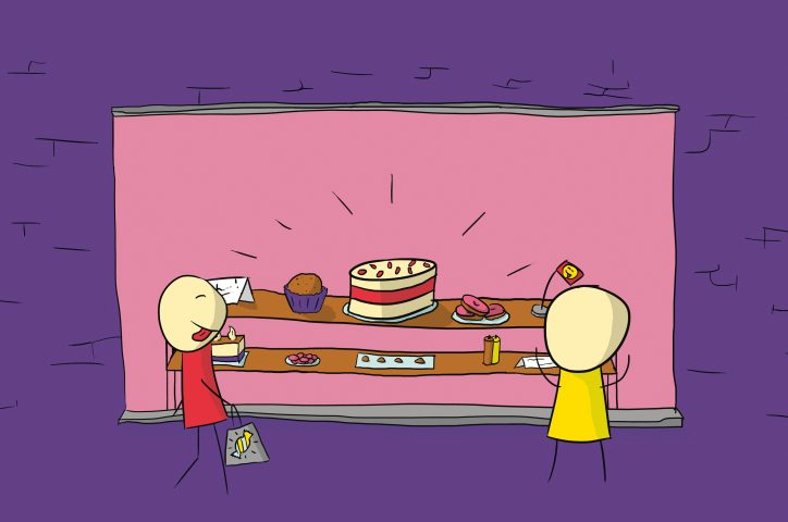 The comic shows two people in front of a shop window filled with large cakes and gateaux.
