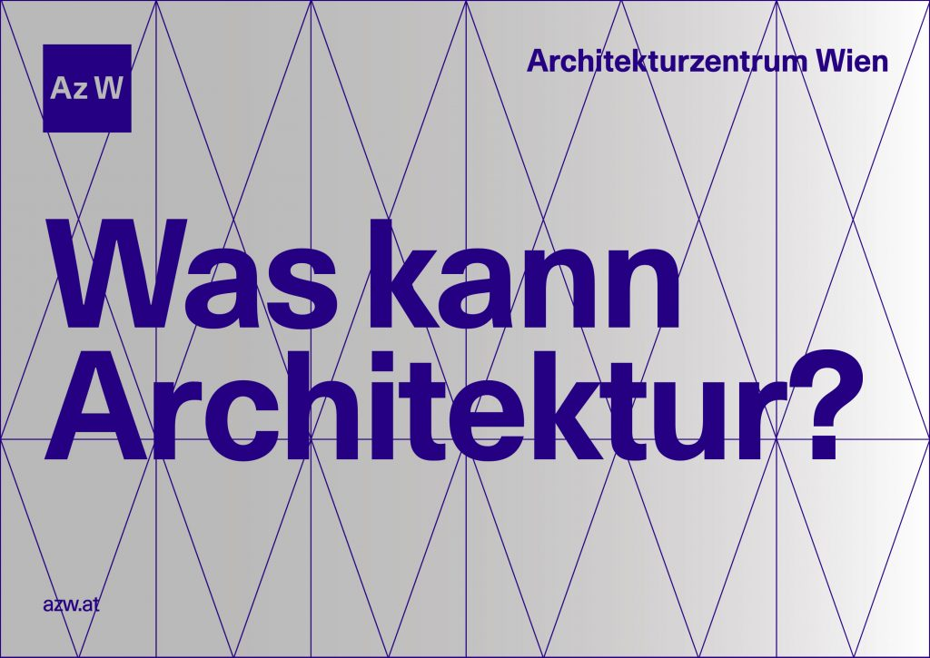 Logo and lettering of the Architekturzentrum Wien with the question: What can architecture do?