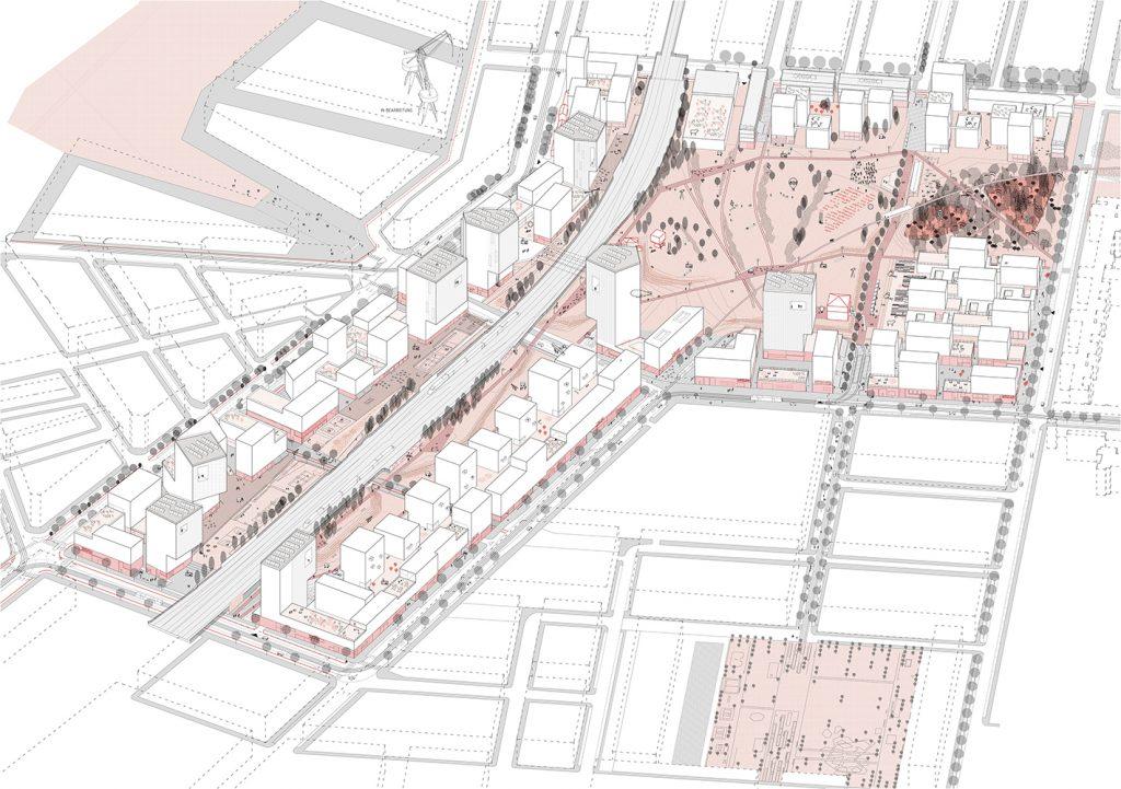 Gezeichneter Bebauungsplan für das Nordbahnhofviertel