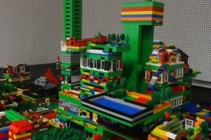 Towers and landscape made of Lego with