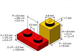 Ein roter und ein gelber Legosteine, die mit Abmessungen versehen sind
