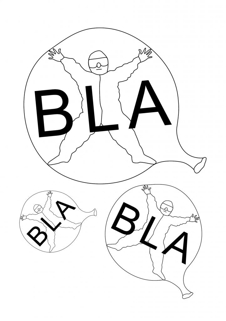 Zeichnung eines Menschen mit Schutzkleidung in einem Luftballon