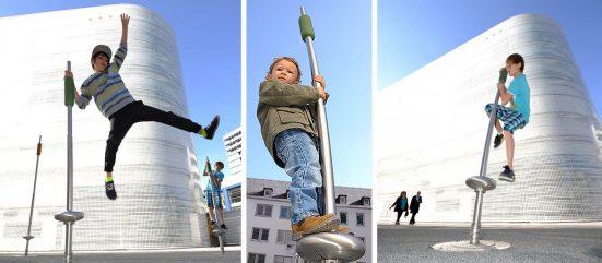 Boy using playground equipment
