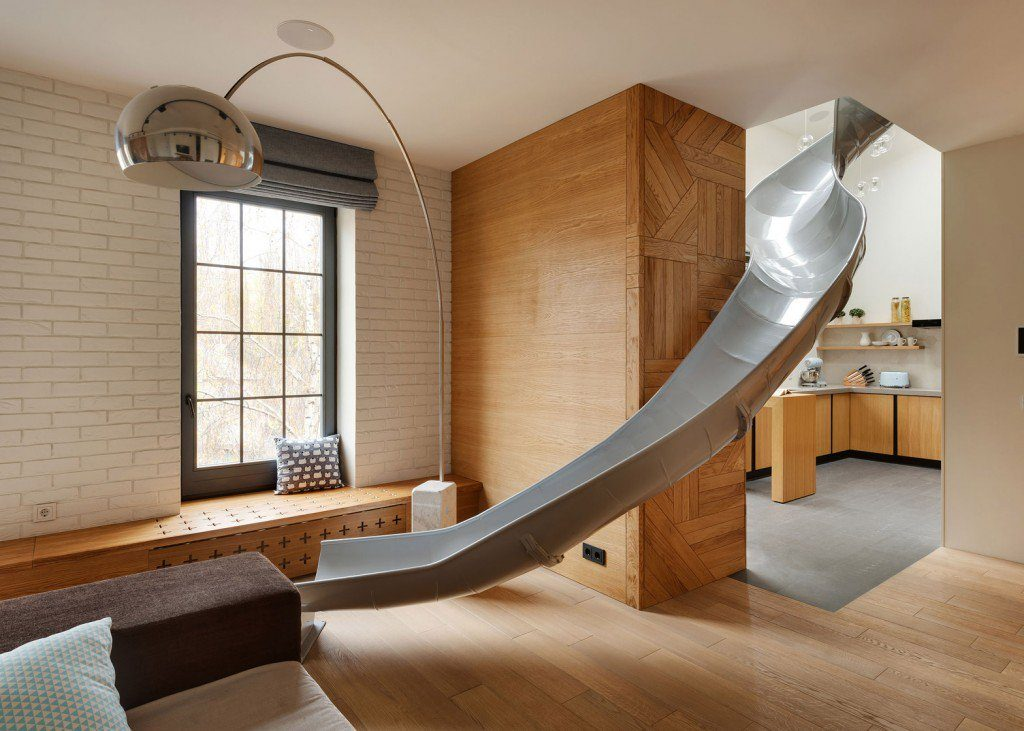 A slide in an apartment building