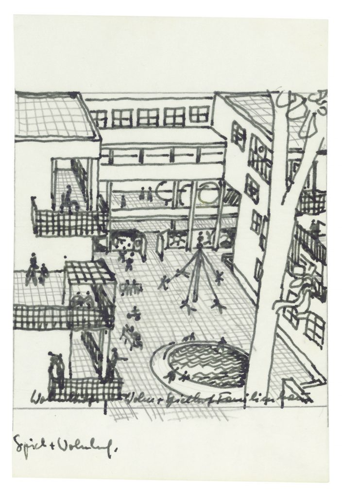Drawing of the outdoor space with building background