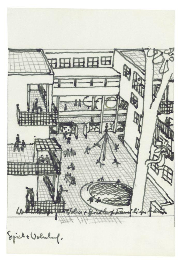 Architekturzeichnung mit spielenden Menschen in einem Innenhof einer Wohnanlage
