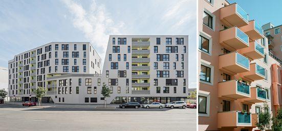 2 exterior views of buildings