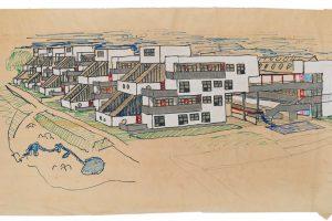 Farbige Skizze mit 3 Häusern