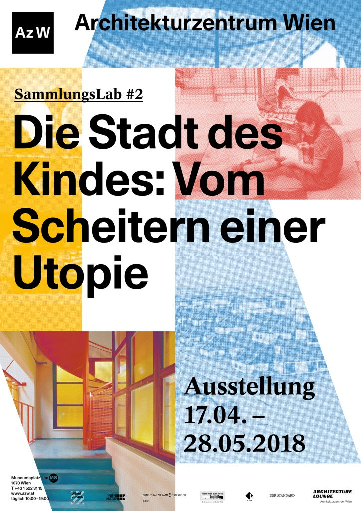 Plakat mit den Daten zur Ausstellung und bunt unterlegten Bildauschnitten mit Motiven der Stadt des Kindes