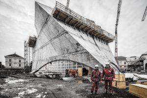Baustellenansicht eines Betonbauwerks