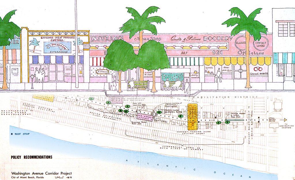 Zeichnung mit Palmen und rosa Gebäude