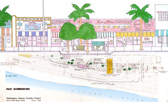 Sketch with palms and pink houses