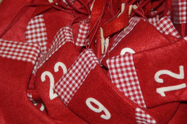 red numbered cloth bags