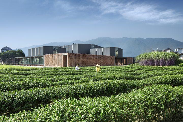 Kubusförmiger, brauner Flachbau mit mit drei erhöhten grauen Elementen; im Vordergrund einen Teeplantage mit 2 Arbeiter*innen