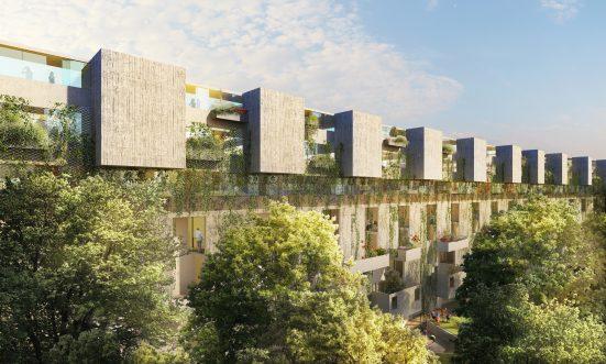 Mehrstöckiger Wohnbau mit begrünter Fassade und Balkonen