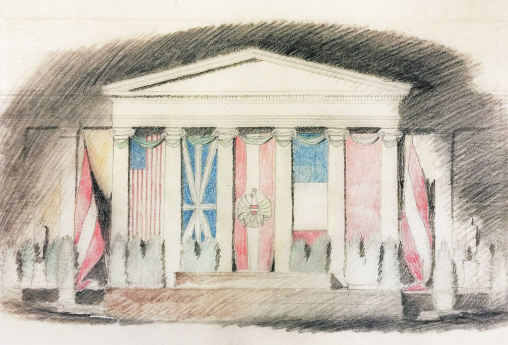 Coloured drawing of a building with the shape of a Greek temple with national flags