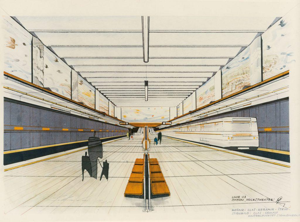 Zeichnung einer U-Bahn-Station mit Zug