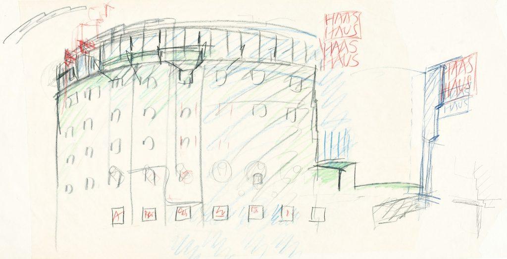 Farbige Skizze eines mehrstöckigen halbrunden Hauses