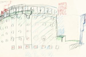 Coloured sketch of a multi-storey semicircular house