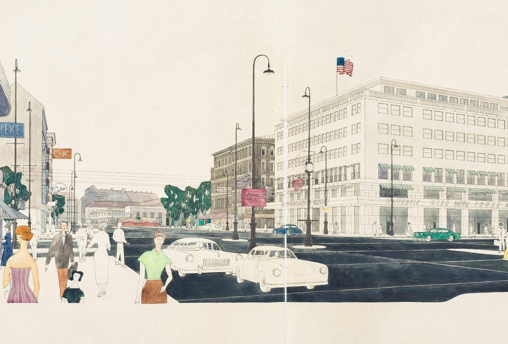 bunte Skizze mit Autos und Häusern mit USA-Fahne