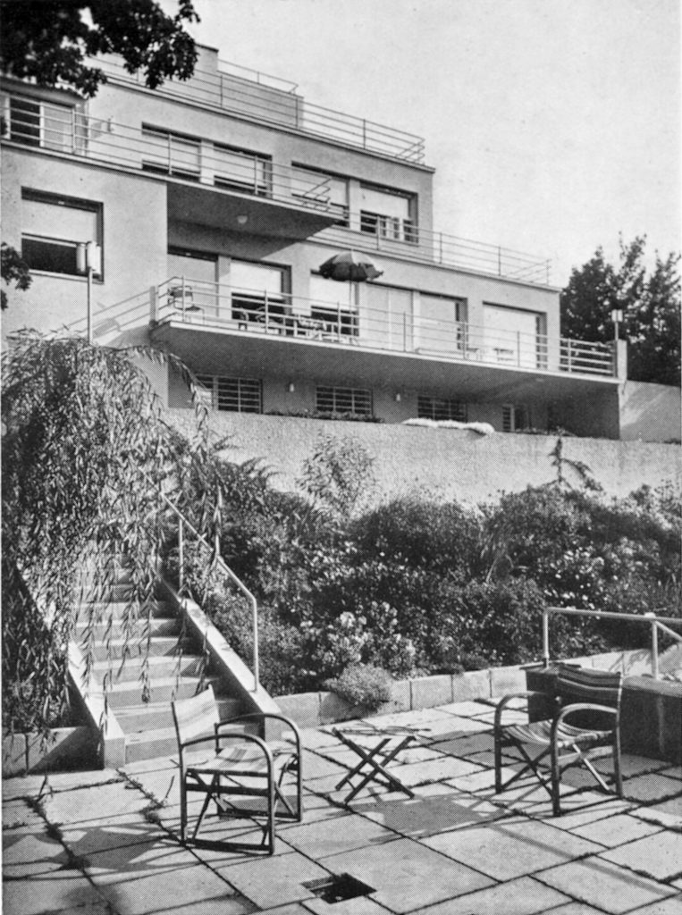 black white photograph of terrace house