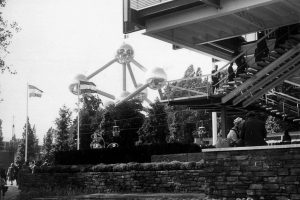 black white photograph of the Atomium in Brussels