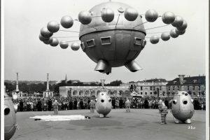 black white photo with ufo