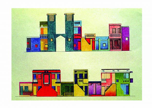 colourful sketch with houses