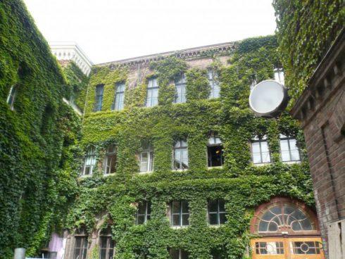 green façade on apartment building