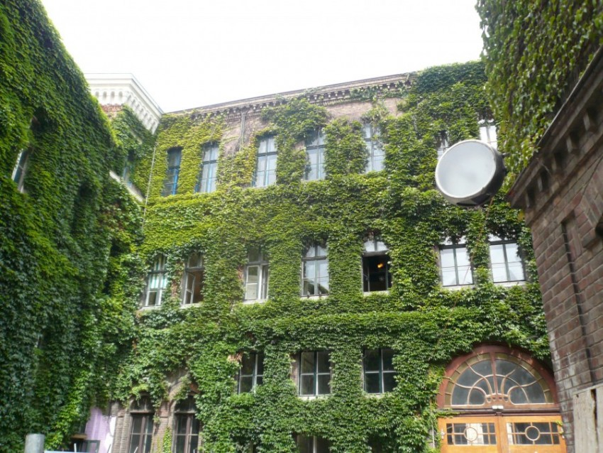 green façade on apartment building