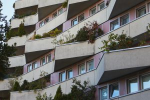façade of apartment housing with triangular balconys
