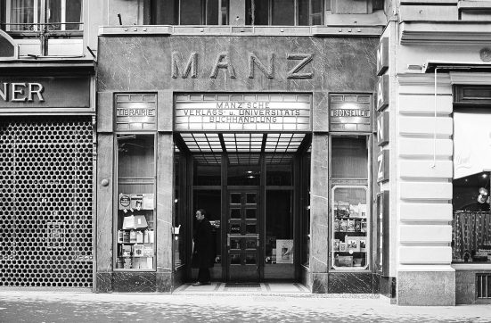 black-white photo with shop entrance from Manz