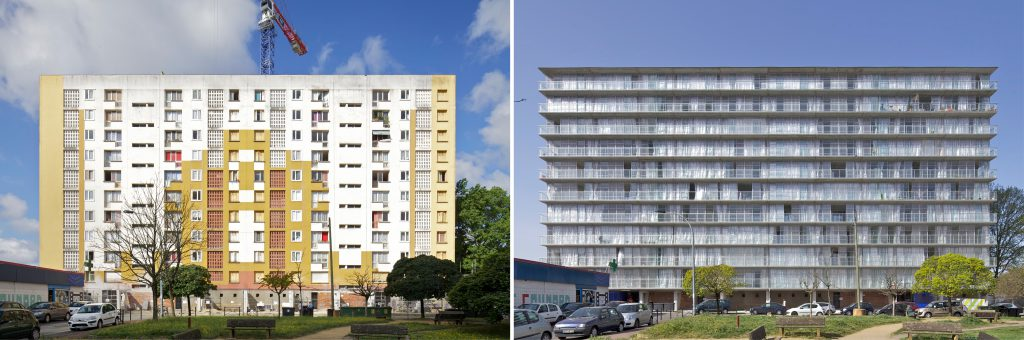 Wohnblock vor dem Umbau und nach dem Umbau