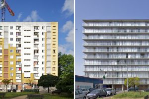 Block of flats before and after the renovation